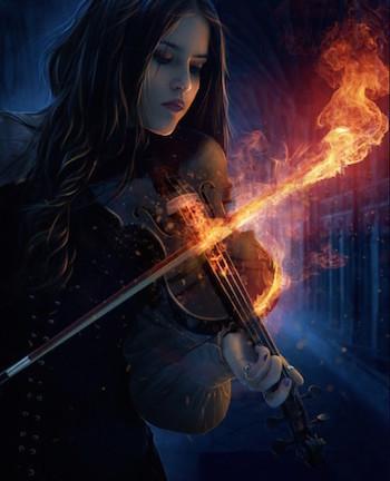 женщина скрипка